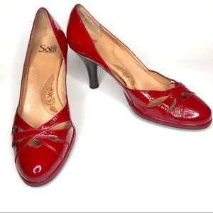 Sofft Cut Out Red Pump Heels Man Made & Leather
